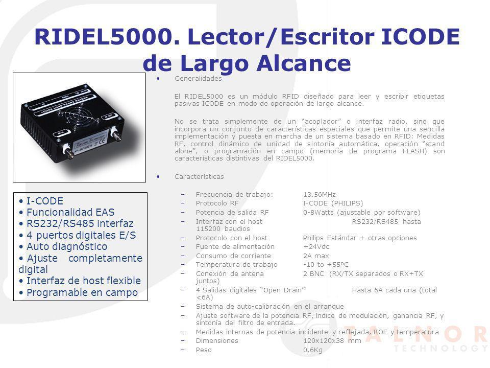 RIDEL5000. Lector/Escritor ICODE de Largo Alcance Generalidades El RIDEL5000 es un módulo RFID diseñado para leer y escribir etiquetas pasivas ICODE e