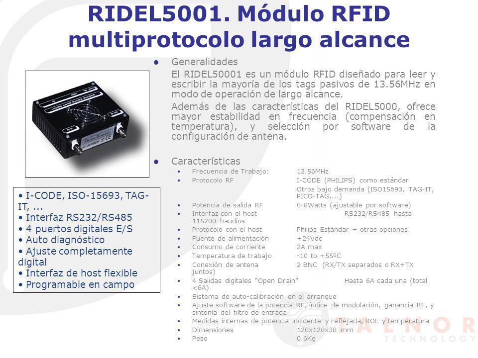 LECTORES Y tag´s en UHF Multi-Protocolo ePC clase I IS018000-6 A/B UCODEePC1.19 ePC clase I Gen2 Cuatro puertos de antena Compatible con el nuevo estándar ETSI 302-208 (865- 868MHz) Listen before talk Configurable según normativa europea ETSI 300-220 (869.525MHz) Compatible con ePC C1G2 Interfaz con host múltiple (RS232, USB, Ethernet, RS485) Actualizable LECTOR UHF DE LARGO ALCANCE MODELO A948EU El A948EU es una evolución del modelo previo de lector UHF de largo alcance A928EU, con objeto de hacerlo totalmente compatible con el nuevo estándar listen before talK\ requerido por la normativa europea, y con el protocolo ePC C1G2.
