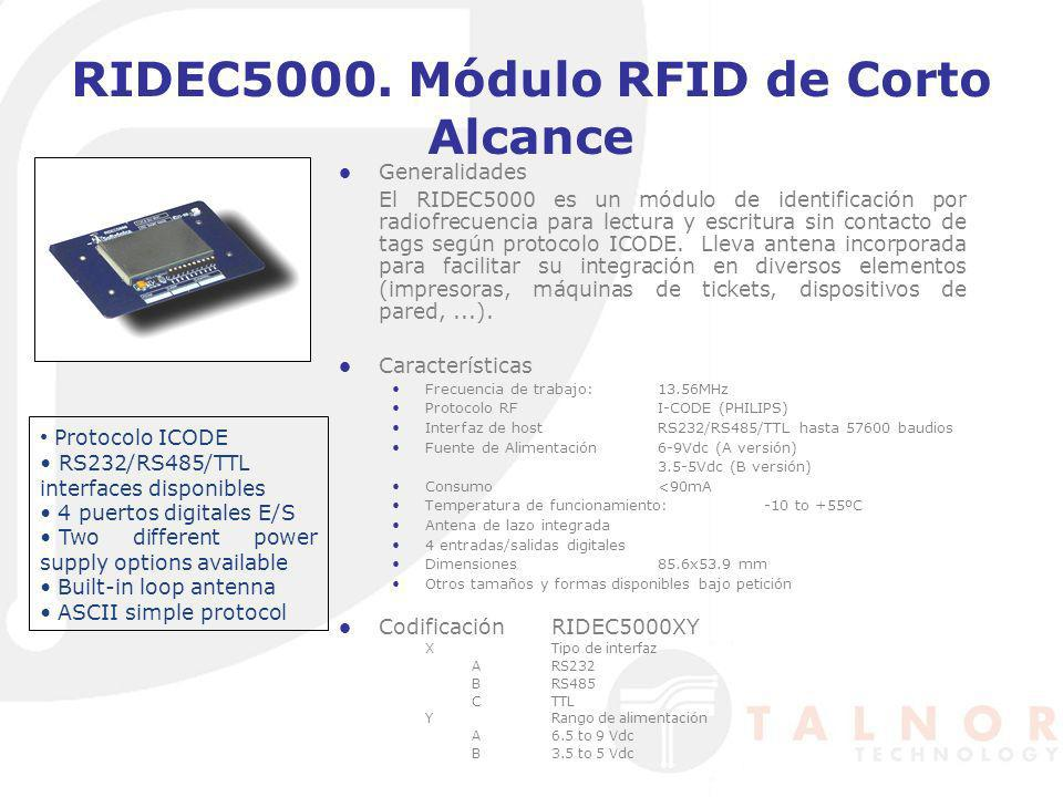 RIDEC5000. Módulo RFID de Corto Alcance Generalidades El RIDEC5000 es un módulo de identificación por radiofrecuencia para lectura y escritura sin con