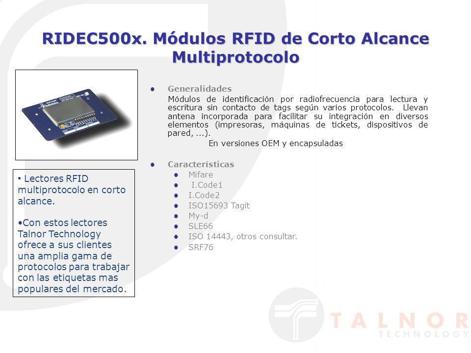 RIDEC500x. Módulos RFID de Corto Alcance Multiprotocolo Generalidades Módulos de identificación por radiofrecuencia para lectura y escritura sin conta