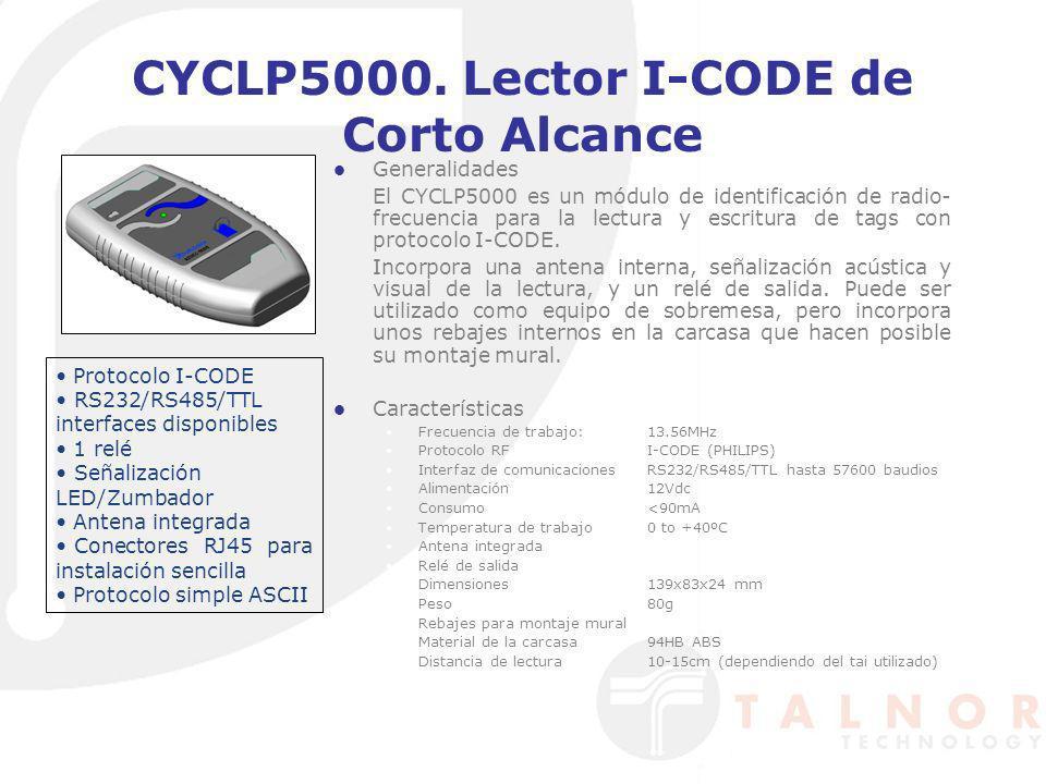 CYCLP5000. Lector I-CODE de Corto Alcance Generalidades El CYCLP5000 es un módulo de identificación de radio- frecuencia para la lectura y escritura d