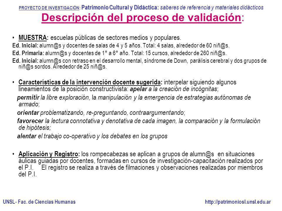 Descripción del proceso de validación: MUESTRA: escuelas públicas de sectores medios y populares. Ed. Inicial: alumn@s y docentes de salas de 4 y 5 añ