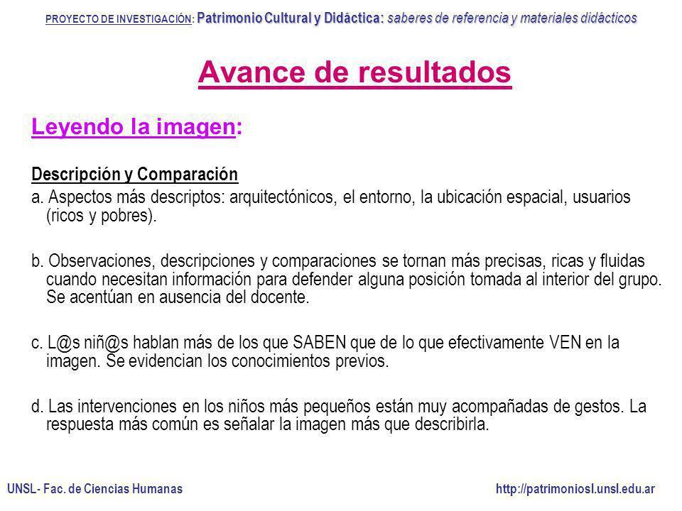 Avance de resultados Leyendo la imagen: Descripción y Comparación a. Aspectos más descriptos: arquitectónicos, el entorno, la ubicación espacial, usua