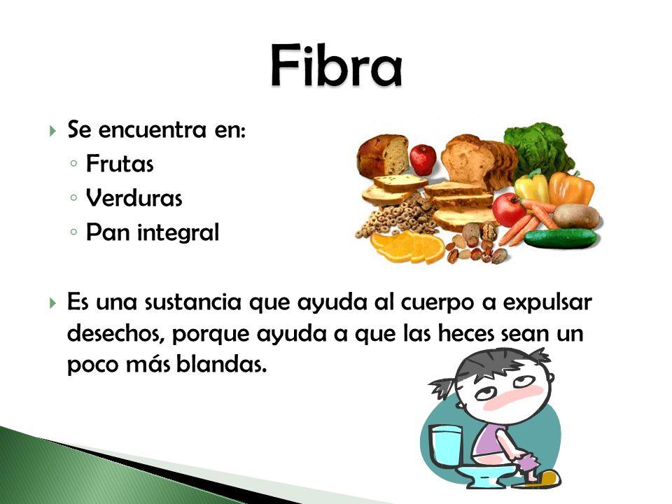 Se encuentra en: Frutas Verduras Pan integral Es una sustancia que ayuda al cuerpo a expulsar desechos, porque ayuda a que las heces sean un poco más