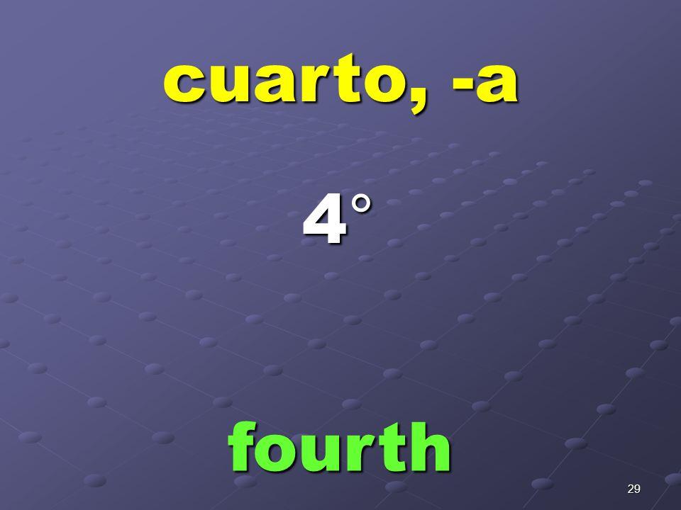 28 tercero, -a third 3°3°3°3°