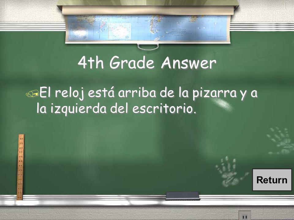 4th Grade Question / ¿Dónde está (el reloj) en la clase de español?