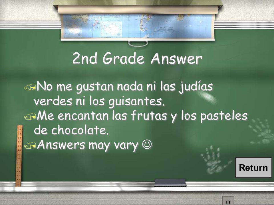 2nd Grade Question / ¿Qué no te gusta nada comer? ¿Cuáles comidas te encantan?