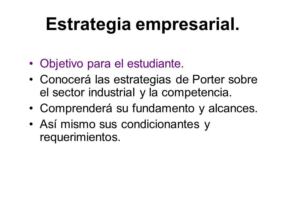 Estrategia empresarial. Objetivo para el estudiante. Conocerá las estrategias de Porter sobre el sector industrial y la competencia. Comprenderá su fu
