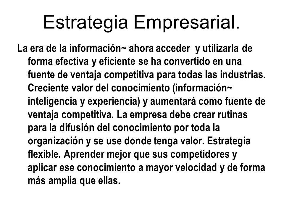 Estrategia Empresarial. La era de la información~ ahora acceder y utilizarla de forma efectiva y eficiente se ha convertido en una fuente de ventaja c