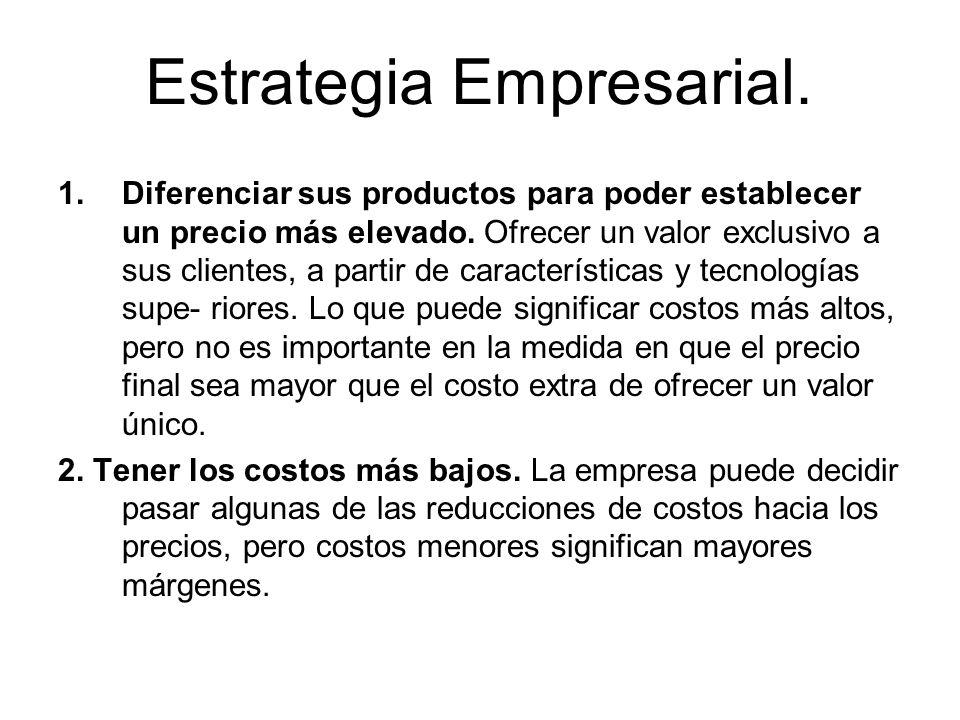 Estrategia Empresarial. 1.Diferenciar sus productos para poder establecer un precio más elevado. Ofrecer un valor exclusivo a sus clientes, a partir d