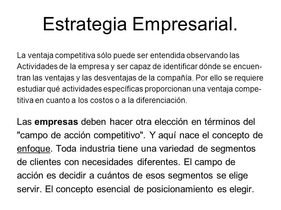 Estrategia Empresarial. La ventaja competitiva sólo puede ser entendida observando las Actividades de la empresa y ser capaz de identificar dónde se e