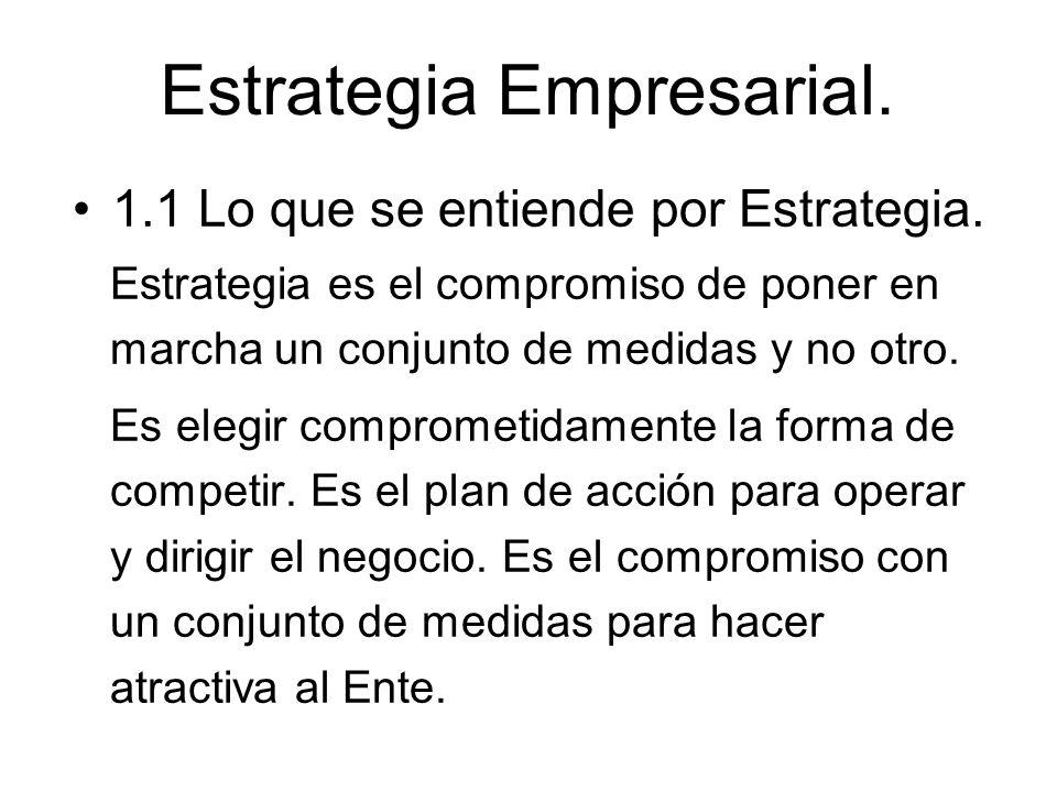 Estrategia Empresarial. 1.1 Lo que se entiende por Estrategia. Estrategia es el compromiso de poner en marcha un conjunto de medidas y no otro. Es ele