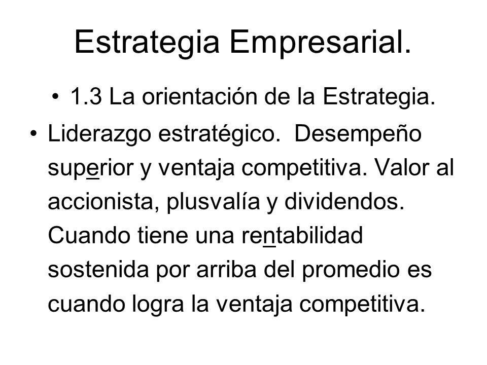 Estrategia Empresarial. 1.3 La orientación de la Estrategia. Liderazgo estratégico. Desempeño superior y ventaja competitiva. Valor al accionista, plu