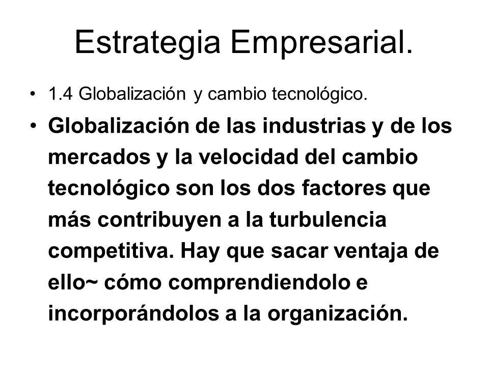 Estrategia Empresarial. 1.4 Globalización y cambio tecnológico. Globalización de las industrias y de los mercados y la velocidad del cambio tecnológic