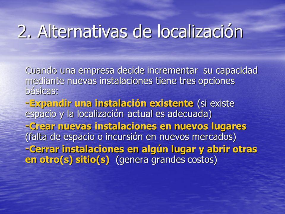 2. Alternativas de localización Cuando una empresa decide incrementar su capacidad mediante nuevas instalaciones tiene tres opciones básicas: - Expand