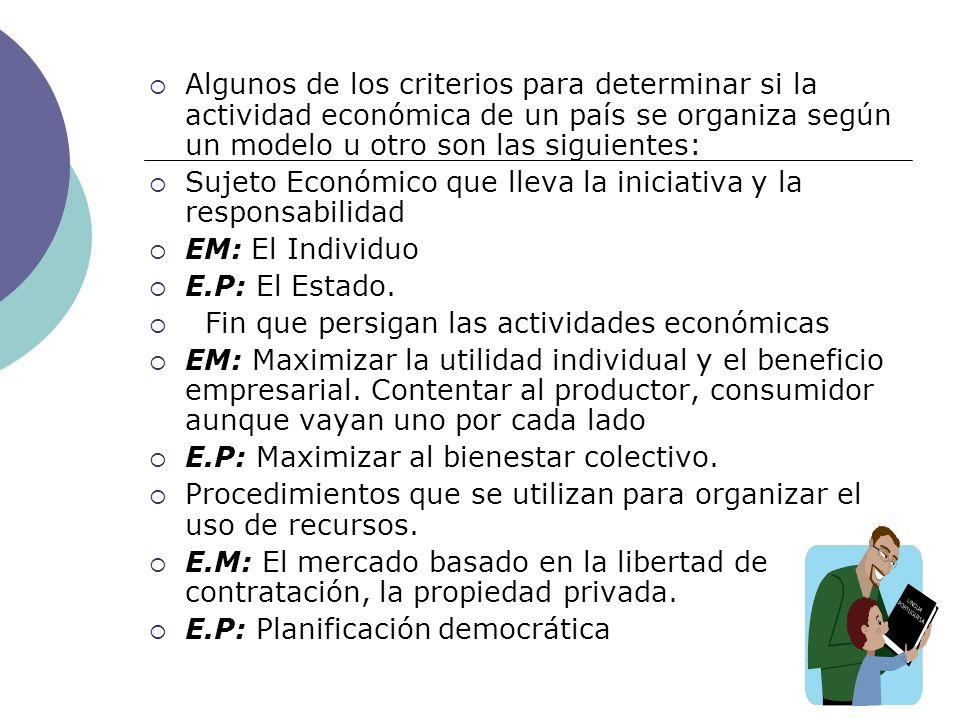 Algunos de los criterios para determinar si la actividad económica de un país se organiza según un modelo u otro son las siguientes: Sujeto Económico