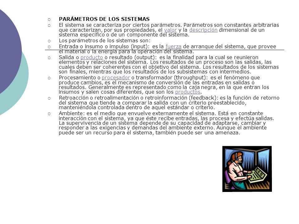 PARÁMETROS DE LOS SISTEMAS El sistema se caracteriza por ciertos parámetros. Parámetros son constantes arbitrarias que caracterizan, por sus propiedad