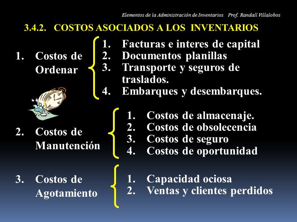 1.Costos de Ordenar 2.Costos de Manutención 3.Costos de Agotamiento 1.Facturas e interes de capital 2.Documentos planillas 3.Transporte y seguros de t