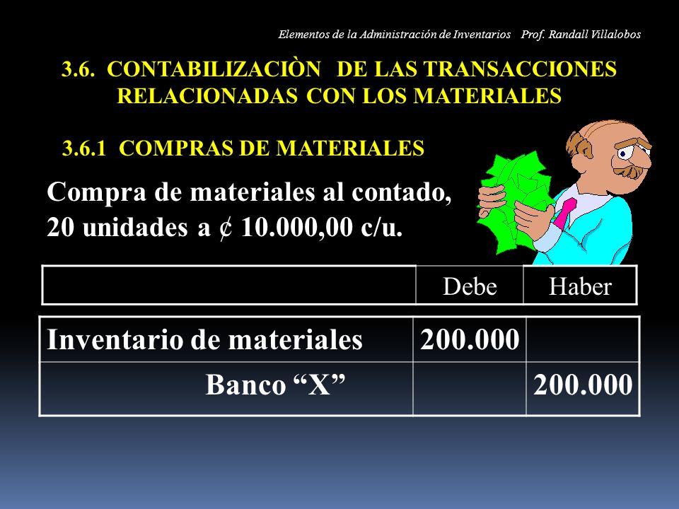 3.6. CONTABILIZACIÒN DE LAS TRANSACCIONES RELACIONADAS CON LOS MATERIALES 3.6.1 COMPRAS DE MATERIALES Inventario de materiales200.000 Banco X200.000 C