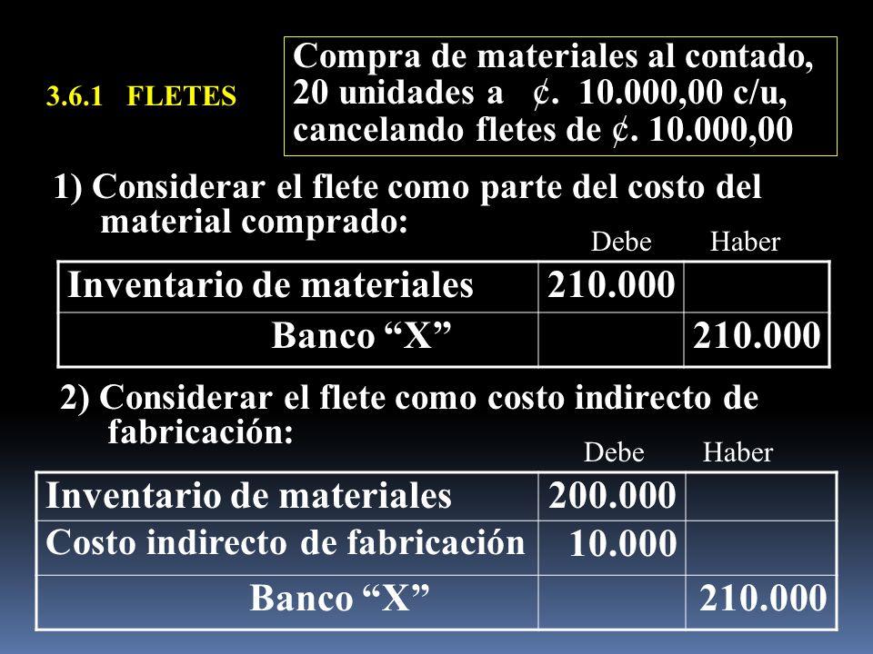 3.6.1 FLETES Inventario de materiales210.000 Banco X210.000 Compra de materiales al contado, 20 unidades a ¢. 10.000,00 c/u, cancelando fletes de ¢. 1