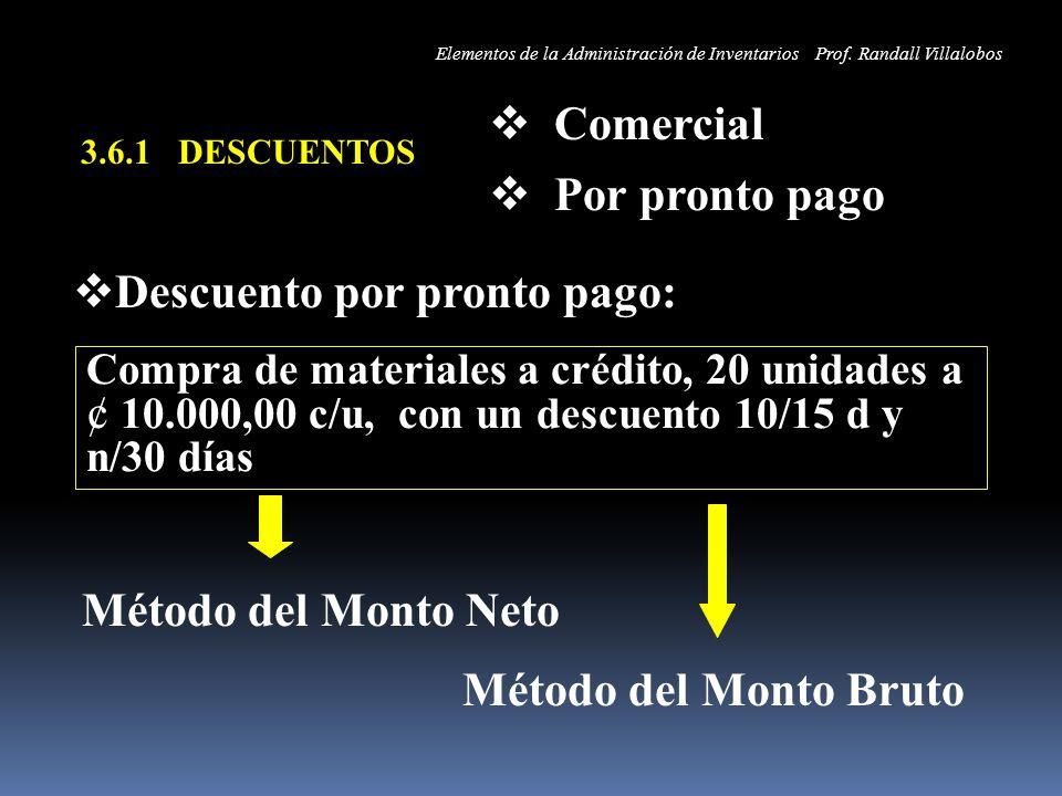 3.6.1 DESCUENTOS Comercial Por pronto pago Descuento por pronto pago: Método del Monto Neto Compra de materiales a crédito, 20 unidades a ¢ 10.000,00
