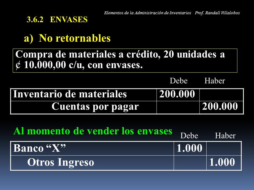 3.6.2 ENVASES a) No retornables Inventario de materiales200.000 Cuentas por pagar200.000 Compra de materiales a crédito, 20 unidades a ¢ 10.000,00 c/u