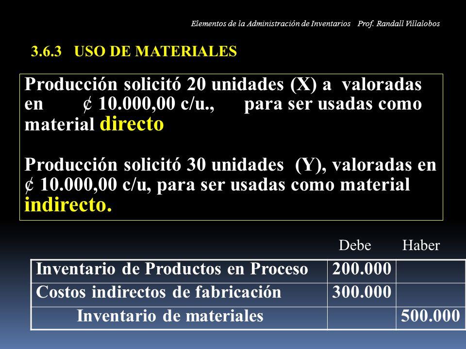3.6.3 USO DE MATERIALES Producción solicitó 20 unidades (X) a valoradas en ¢ 10.000,00 c/u., para ser usadas como material directo Producción solicitó