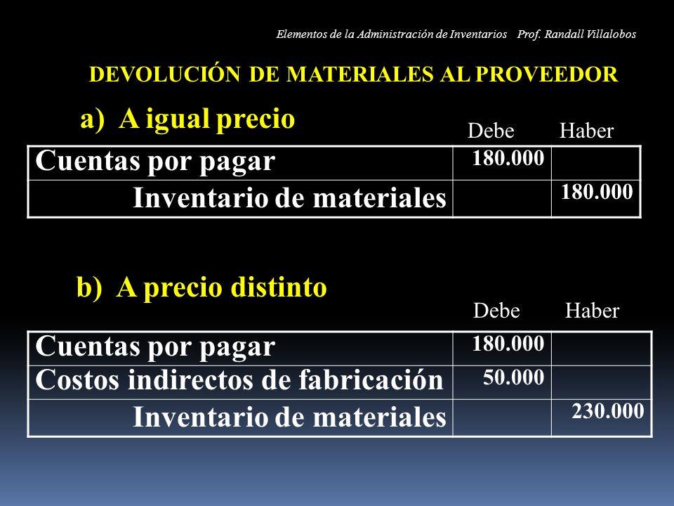 DEVOLUCIÓN DE MATERIALES AL PROVEEDOR a) A igual precio b) A precio distinto Cuentas por pagar 180.000 Inventario de materiales 180.000 Cuentas por pa