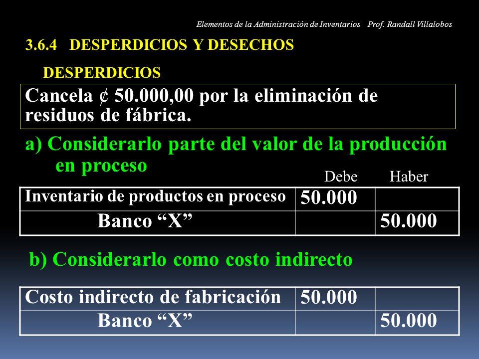 3.6.4 DESPERDICIOS Y DESECHOS DESPERDICIOS Inventario de productos en proceso 50.000 Banco X50.000 Cancela ¢ 50.000,00 por la eliminación de residuos