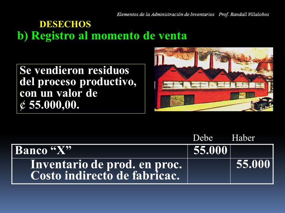 b) Registro al momento de venta Banco X55.000 Inventario de prod. en proc. Costo indirecto de fabricac. 55.000 DESECHOS Se vendieron residuos del proc