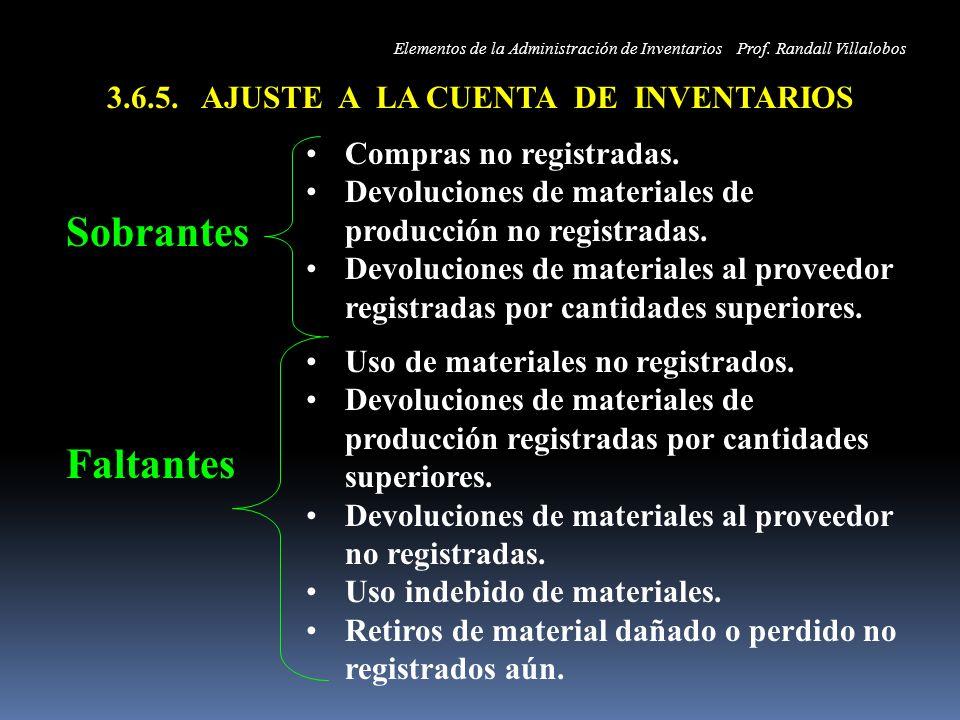 3.6.5. AJUSTE A LA CUENTA DE INVENTARIOS Sobrantes Compras no registradas. Devoluciones de materiales de producción no registradas. Devoluciones de ma