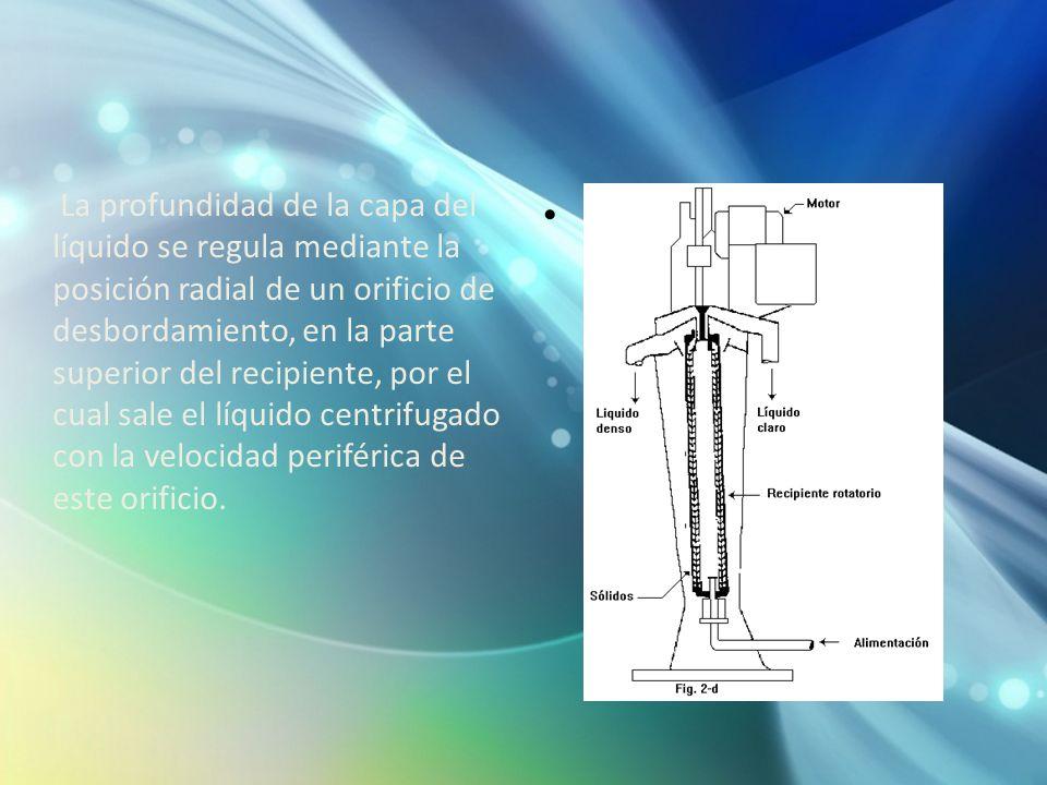 La profundidad de la capa del líquido se regula mediante la posición radial de un orificio de desbordamiento, en la parte superior del recipiente, por