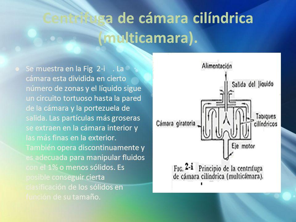 Centrifuga de cámara cilíndrica (multicamara). Se muestra en la Fig 2-i. La cámara esta dividida en cierto número de zonas y el líquido sigue un circu
