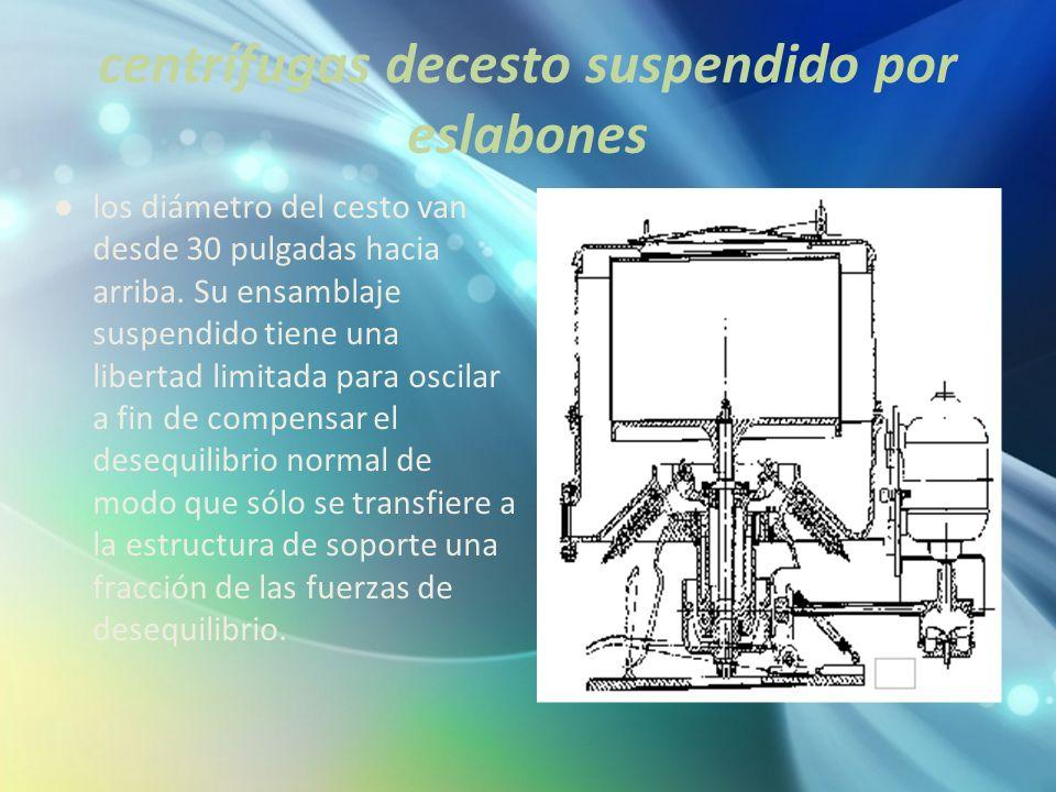 centrífugas decesto suspendido por eslabones los diámetro del cesto van desde 30 pulgadas hacia arriba. Su ensamblaje suspendido tiene una libertad li