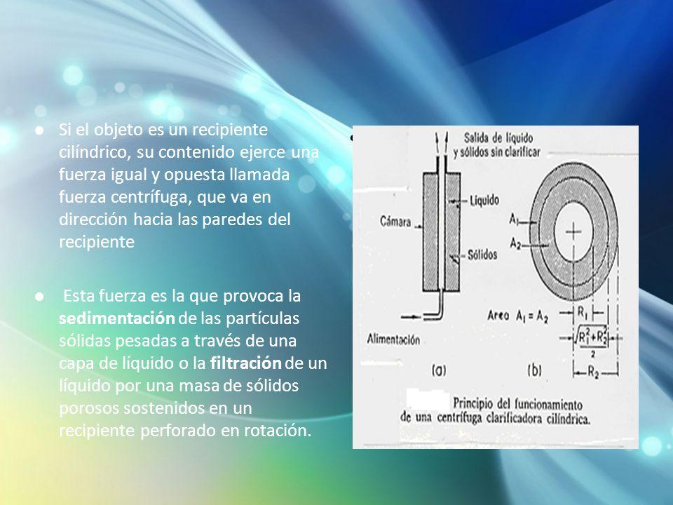 Si el objeto es un recipiente cilíndrico, su contenido ejerce una fuerza igual y opuesta llamada fuerza centrífuga, que va en dirección hacia las pare