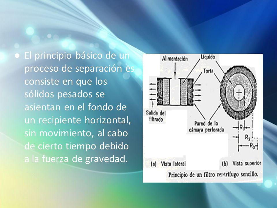 El principio básico de un proceso de separación es consiste en que los sólidos pesados se asientan en el fondo de un recipiente horizontal, sin movimi