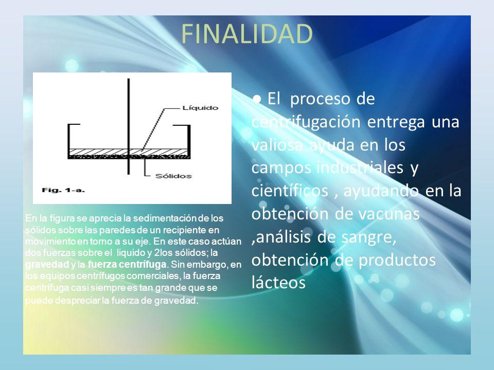 FINALIDAD El proceso de centrifugación entrega una valiosa ayuda en los campos industriales y científicos, ayudando en la obtención de vacunas,análisi