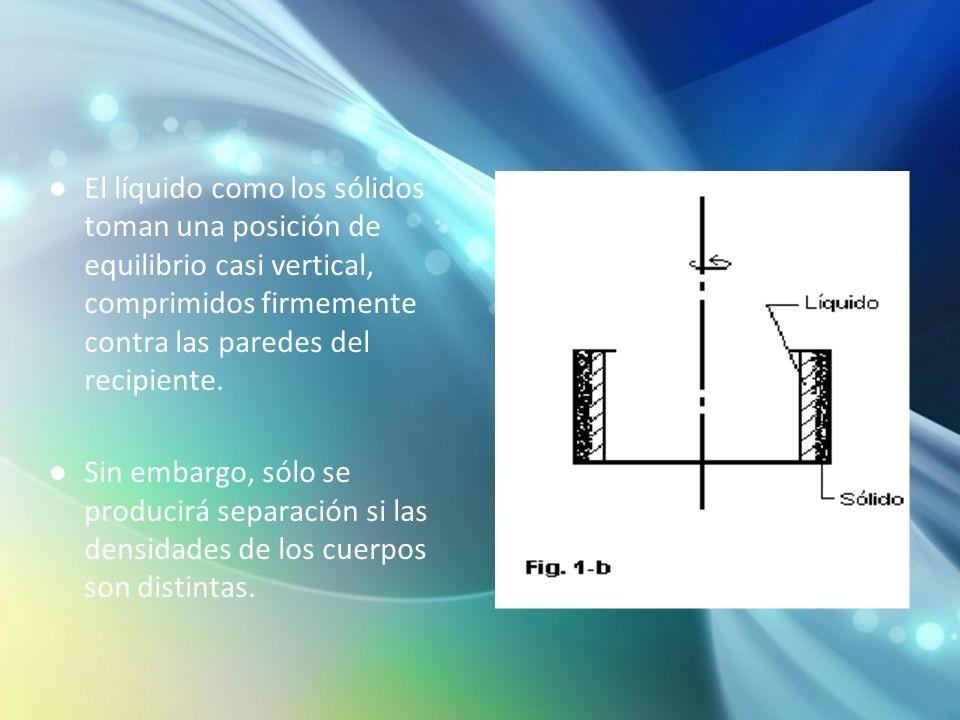 El líquido como los sólidos toman una posición de equilibrio casi vertical, comprimidos firmemente contra las paredes del recipiente. Sin embargo, sól