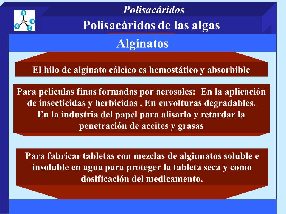 El hilo de alginato cálcico es hemostático y absorbible Para películas finas formadas por aerosoles: En la aplicación de insecticidas y herbicidas.