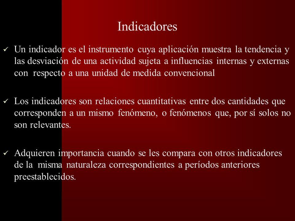Definición de criterios e indicadores Criterio: –Aspecto no medible del proceso que interesa evaluar. Indicador: –Variable medible relacionada directa