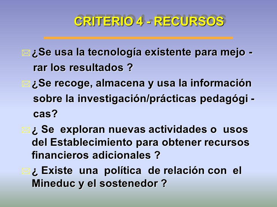 CRITERIO 4 - RECURSOS * ¿Se usa la tecnología existente para mejo - rar los resultados ? rar los resultados ? * ¿Se recoge, almacena y usa la informac