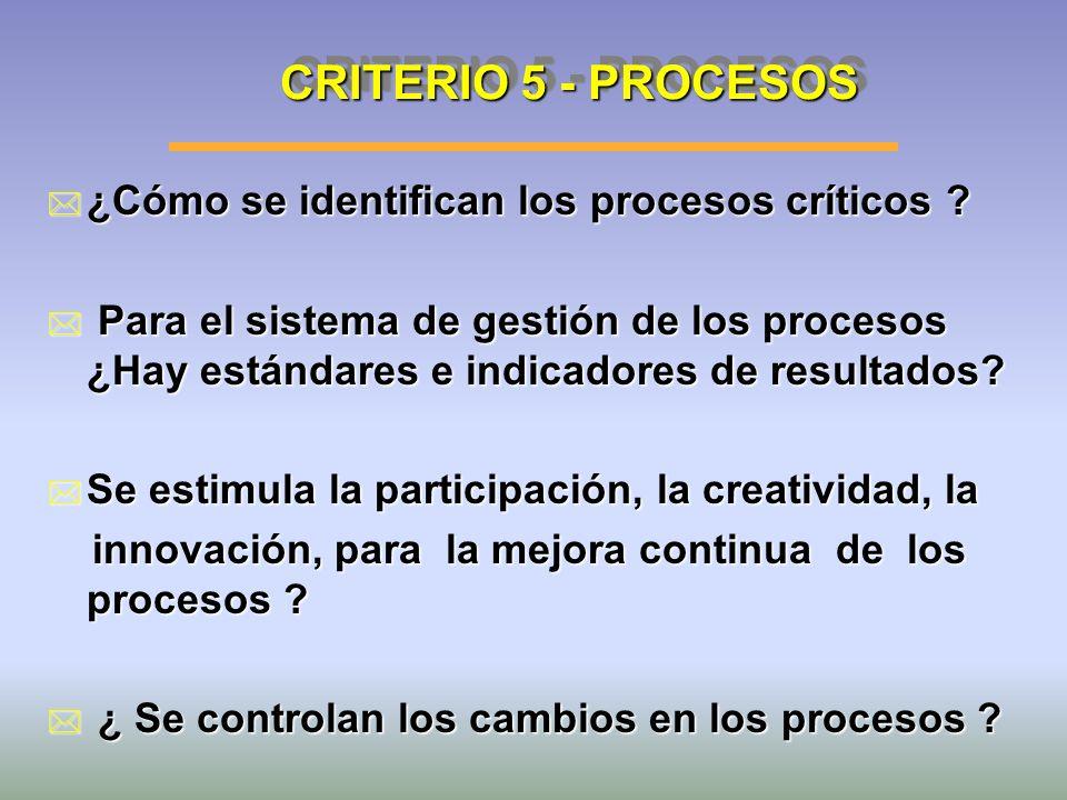 CRITERIO 5 - PROCESOS * ¿Cómo se identifican los procesos críticos ? * Para el sistema de gestión de los procesos ¿Hay estándares e indicadores de res
