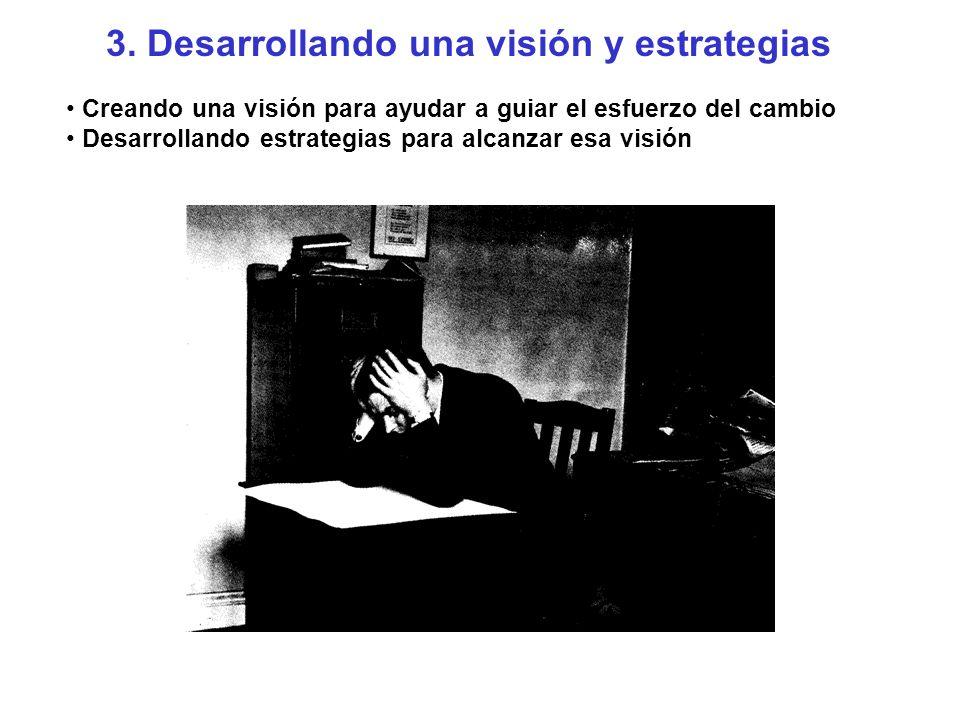 3. Desarrollando una visión y estrategias Creando una visión para ayudar a guiar el esfuerzo del cambio Desarrollando estrategias para alcanzar esa vi