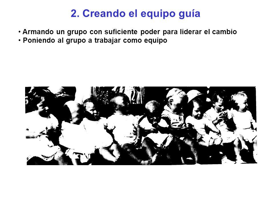 2. Creando el equipo guía Armando un grupo con suficiente poder para liderar el cambio Poniendo al grupo a trabajar como equipo