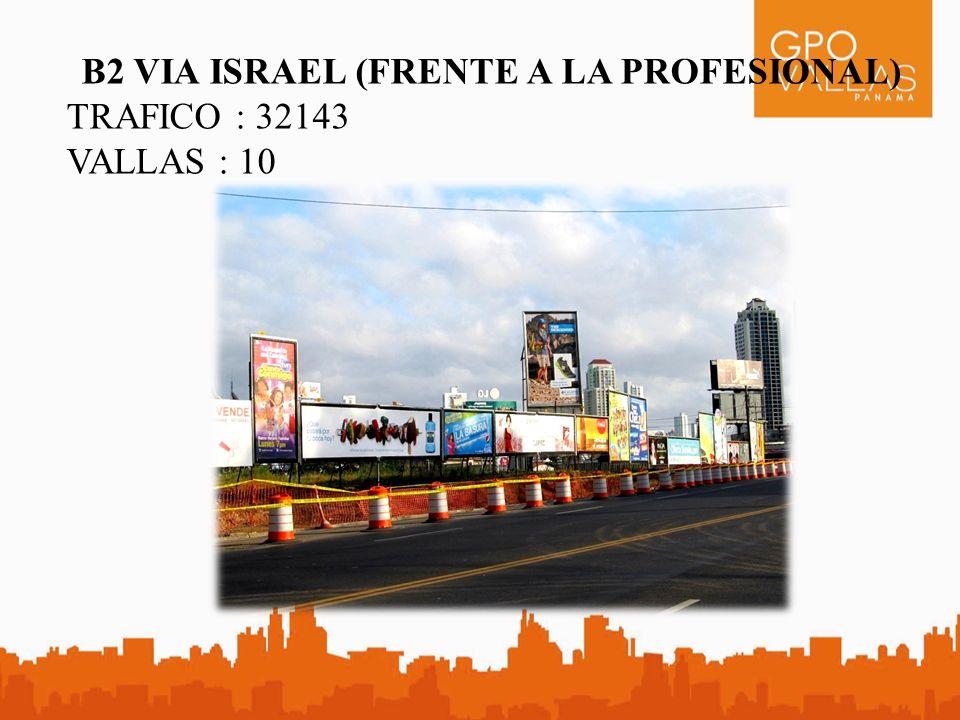B2 VIA ISRAEL (FRENTE A LA PROFESIONAL) TRAFICO : 32143 VALLAS : 10