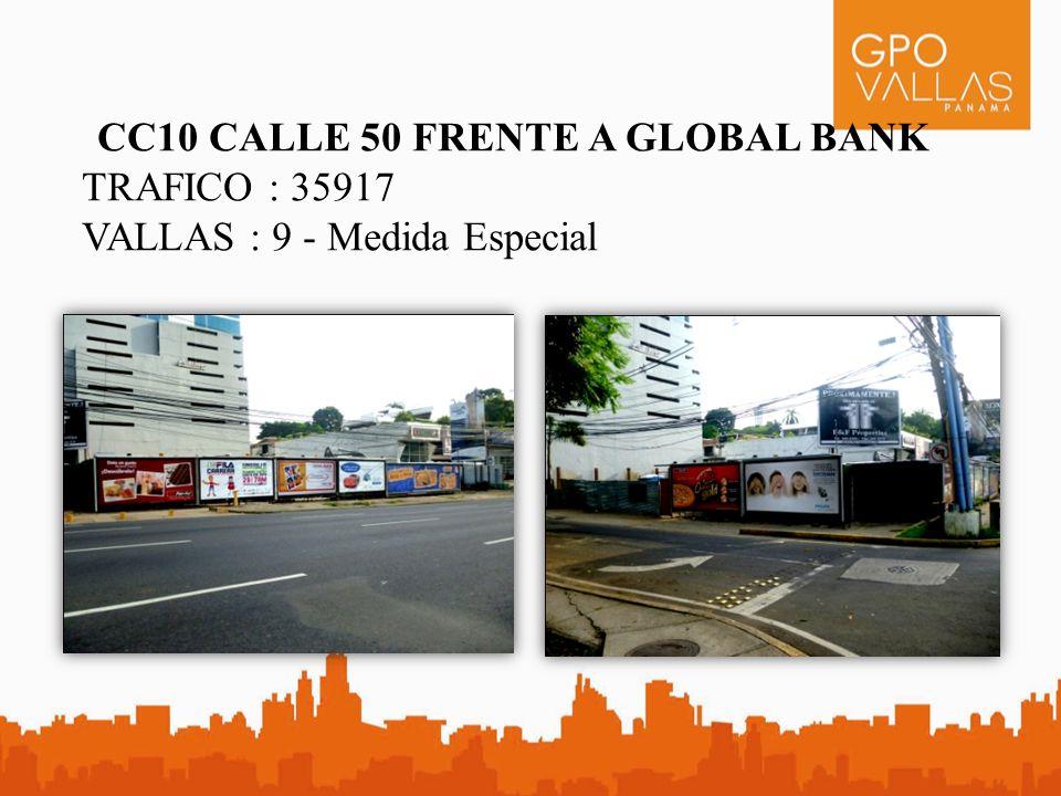 CC9 CALLE 50 FRENTE A CREDICORP BANK TRAFICO : 35917 VALLAS : 10