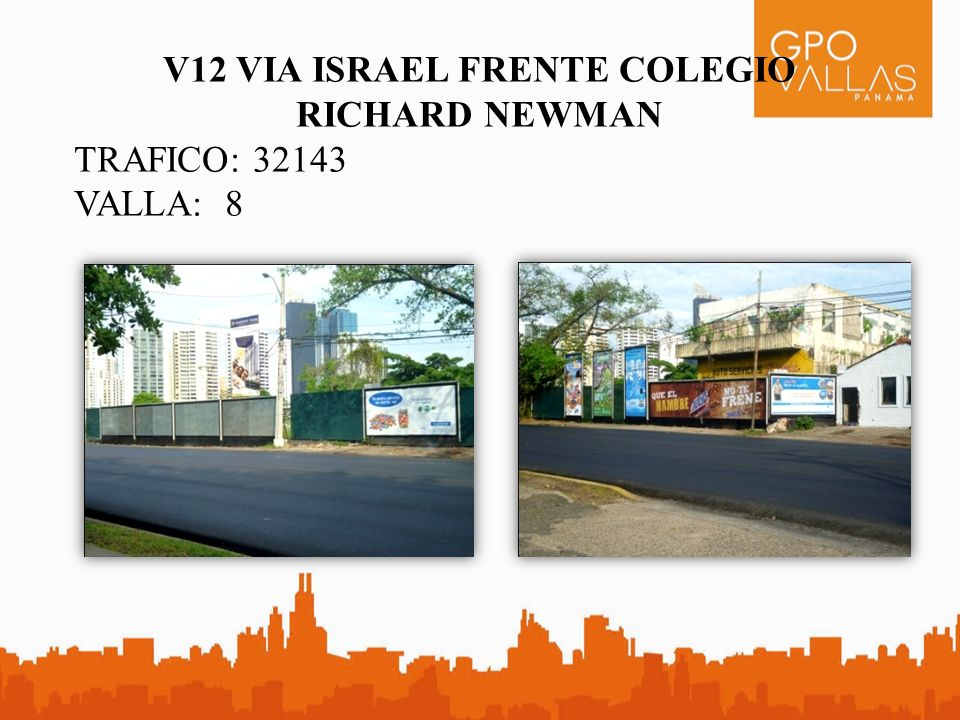 V12 VIA ISRAEL FRENTE COLEGIO RICHARD NEWMAN TRAFICO: 32143 VALLA: 8