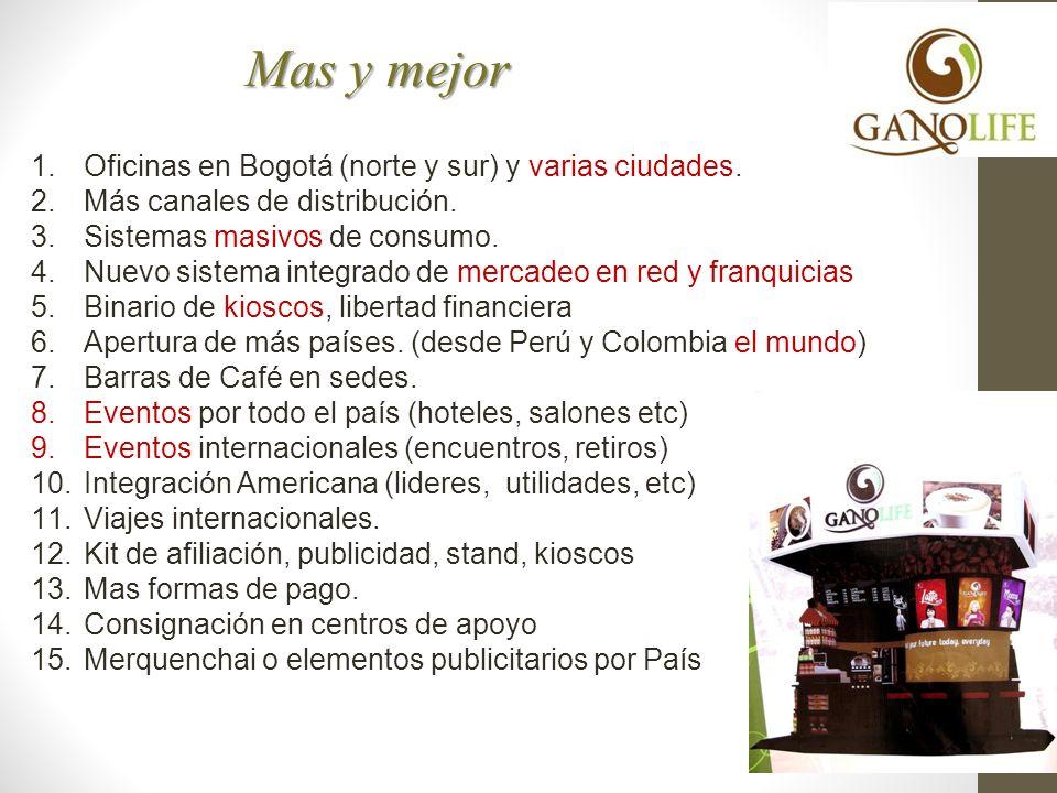 Mas y mejor 1.Oficinas en Bogotá (norte y sur) y varias ciudades. 2.Más canales de distribución. 3.Sistemas masivos de consumo. 4.Nuevo sistema integr