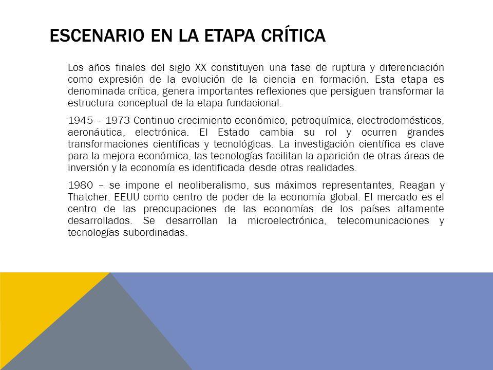 ESCENARIO EN LA ETAPA CRÍTICA Los años finales del siglo XX constituyen una fase de ruptura y diferenciación como expresión de la evolución de la ciencia en formación.