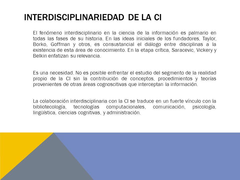 INTERDISCIPLINARIEDAD DE LA CI El fenómeno interdisciplinario en la ciencia de la información es palmario en todas las fases de su historia. En las id